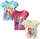 FREEZE Little Girls' Disney FROZEN Toddler T-Shirt Three-Pack
