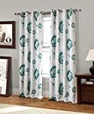 RT Designers Collection Sawyer Printed Blackout Grommet Curtain Window Panel, 54 x 84 inches, Teal