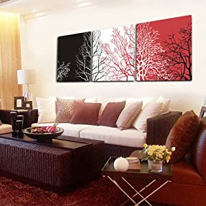 Branches On Silver/Grey/Red BG Wall Canvas Print Set Of 3 Triptych UNFRAMED