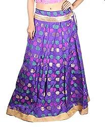 Aura Life Style Georgette Brocade Women's Long Skirt / Lehenga (ALSK4045D,Free Size,Blue)