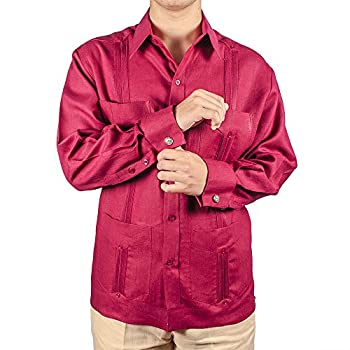 Deluxe Signature French Cuffs Burgundy Linen Guayabera