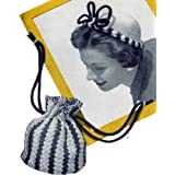 STRIPED HAT & BAG - 2 Vintage 1947 Crochet Patterns for a Crocheted Purse & Beanie Cap ~ Northern Lights Vintage