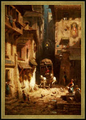 framed-picture-carl-spitzweg-the-post-48-x-69-wood-corum-s-gold