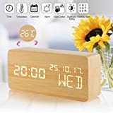 Alarm Clock, Wood Alarm Clock Voice Control Electric Smart LED Travel Alarm Clock Modern Cube,3 Levels Brightness and 3 Alarms Settable,Digital Alarm Clock Display Time Date Week Temperature for Bedroom Office Home