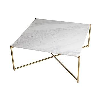 Gillmore Space Cuadrado de mármol blanco mesa de centro bronce Cruz Base