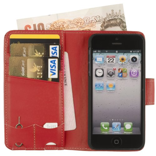 Fonerize Womens Leather Wallet and iPhone 5 Case plus Card Holder with Strap in Hot Red