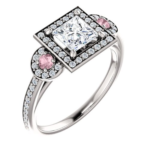 14K White Gold Round Cut White and Pink Diamond Engagement Ring — LIFETIME WARRANTY