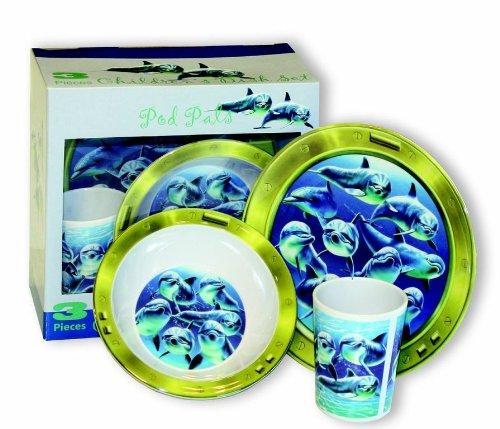 Motorhead Products Pod Pals' Dolphin 3-Piece Children's Dish Set