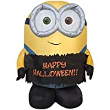 3 Ft Minion Bob Holding Happy Halloween Sign Airblown Inflatable