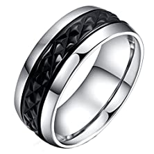 buy Mens Rings Stainless Steel Classic Black Wedding Bands Smooth Inner 8Mm Size 12 By Aienid