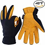 Skiing Gloves, OZERO -40ºF Cold Proof Thermal Glove - Deerskin Suede Leather Palm and Polar Fleece Back with Heatlok Insulated Cotton Layer - Keep Warm in Cold Weather - Tan - Small