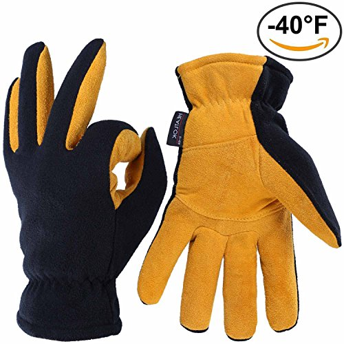 Thermal Gloves, OZERO -40°F Cold Proof Winter Glove - Genuine Deerskin Suede Leather Palm and Polar Fleece Back with Heatlok Insulated Cotton Layer - Keep Warm in Extreme Cold Weather - Tan (XL) (Adjustable Hard Hat Insert compare prices)