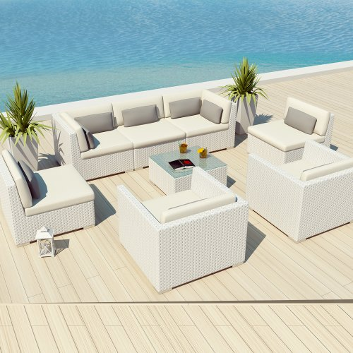 Uduka Outdoor Patio Furniture White Wicker Set Daly 8 f White All Weather C
