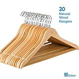 Multifunctional Solid Wood Suit Hangers with Non Slip Bar and Chrome Hooks by Zober - Natural Finish Wooden Coat Hangers - 20 Pack...