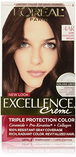 L'Oreal Paris Excellence Creme, 4AR Dark Chocolate Brown, (Packaging May Vary) (Chocolate Color Hair Dye compare prices)