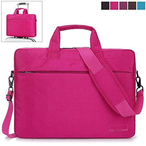 BRINCH® 14.6 Inch Oxford Fabric Lightweight Laptop Shoulder Case Messenger Bag For 14 - 14.6 Inch Laptop / Notebook / MacBook / Chromebook Computers with Shoulder Strap Handle and Pockets (Pink)
