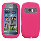 solid Hot Pink Silicone Skin Gel Cover Case For Nokia Astound C7
