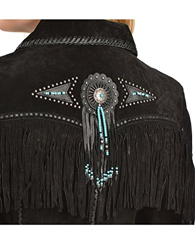 Scully Women's Fringed Suede Leather Jacket Black Large
