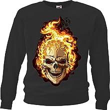 "Sweatshirt ""Biker Shirt – Skull – Gothic – Motorcycle Shirt – motorrad – Rocker Motive – Chopper – Custom Bike – Route 66 – Motorrad Club – MC – Kutte – "" in Schwarz"