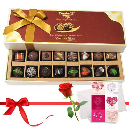 Valentine Chocholik's Belgium Chocolates - Dark And Milk Chocolates With Love Card And Rose