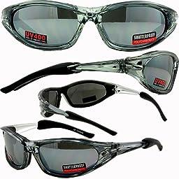 Accent Foam Padded Sunglasses, Motorcycle Sports ATV Eyewear Grey Frame