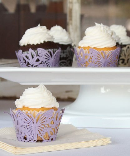 Beautiful Butterfly Filigree Paper Cupcake Wrappers - Lavender Shimmer by Weddingstar Inc.