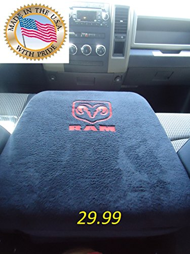 TRUCK CENTER ARMREST CONSOLE COVER EMBROIDERED FOR ALL RAM PICKUP TRUCKS 1998 - 2013 EMBROIDERED WITH RAM LOGO Truck SUV Auto Center Armrest The Only One MADE IN THE USA (Cool Pickup Accessories compare prices)