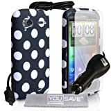 HTC Sensation / Sensation XE Stylish Polka Dot Silicone Gel Patterned Case Cover With Car Charger And Screen Protector Film Black & White Spotsby Yousave Accessories