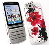 FLASH SUPERSTORE LCD SCREEN PROTECTOR AND ORIENTAL FLOWERS CLIP ON PROTECTION CASE/COVER/SKIN FOR NOKIA C3-01 ( TOUCH AND TYPE )