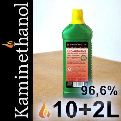 12 x 1 L Flaschen Bioethanol 96,6%,