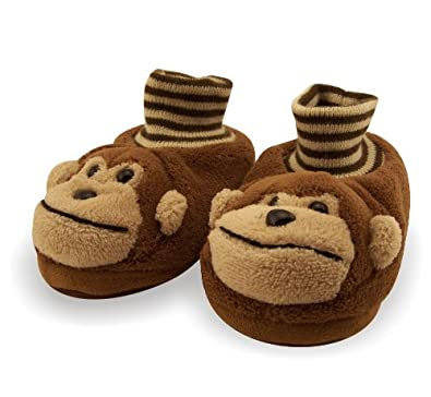 Animal Monkey Toddler Sock Top Bootie Brown Slippers - Sz 7/8