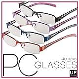 パソコン用メガネ<青色光カット>UFシリーズ PC眼鏡☆パソコン、スマートフォン、ゲームなどのブルーライトを低減 (フローパープル)コンピューターグラス