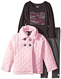 Calvin Klein Little Girls\' Quilted Jacket with Tee and Pants, Pink, 3T