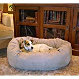 Majestic Pet 32-Inch Suede Bagel Dog Bed, Stone