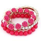 Shining Diva Fashion Pretty & Trendy Pink Roses Bracelets for Girls