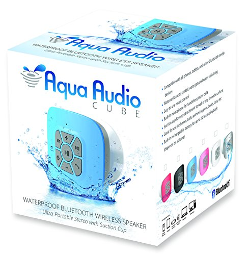 The AquaAudio™ Cubo - Waterproof Bluetooth Wireless Speaker with Strong Suction Cup for Showers, Bathroom, Pool, Boat, Car, Beach, Outdoor etc. / Optimized Buttons for Easy Control / Amazingly Powerful & Crystal Clear Sound / Compatible with All Devices soundbot® sb510 hd water resistant bluetooth 3 0 shower speaker handsfree portable speakerphone with built in mic 6hrs of playtime control buttons and dedicated suction cup for showers bathroom pool boat car beach