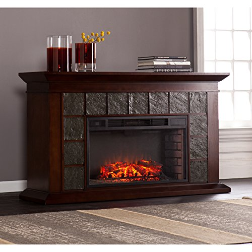 Newberg Electric Fireplace - Warm Brown Walnut