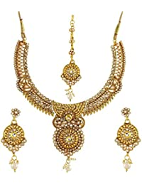 Penny Jewels Traditional Antique Gold Plated Party Wear Fancy Necklace With Earring Set & Maangtika For Women...