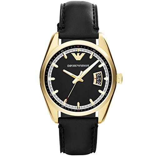 Emporio Armani AR6018 - Reloj de cuarzo para hombre, correa de cuero color negro