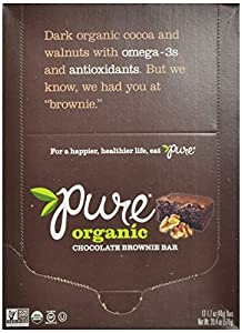 Pure Bar Organic Chocolate Brownie, Gluten Free, Raw, Vegan,  1.7-Ounce Bars (Pack of 12)