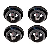 4 Pack Dummy Fake Security CCTV Dome Camera with Flashing Red LED Light with Warning Security Alert Sticker Decals