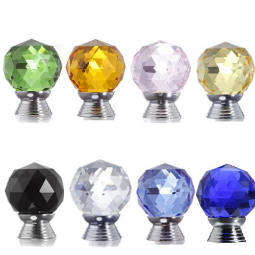 10Pcs 30Mm Round Crystal Glass Cabinet Drawer Wardrobe Door Pull Handle Knobs,Black front-471049