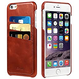 iPhone 6s Plus / 6 Plus Case, Benuo [Card Slot Vintage Series] [Genuine Leather] Soft Corrected Grain Leather Case [Wallet Style] [3 Card Slots], Leather Case Back Cover for iPhone 6 Plus / iPhone 6s Plus 5.5 inch (Brown)