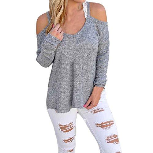 donne top senza spalline maniche lunghe camicetta sport casuali t-shirt (Grigio, M)