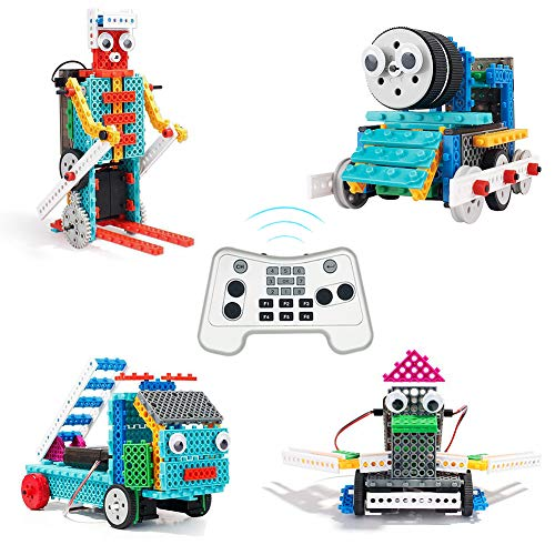 PETUOL 4 in 1 Remote Control Building Kits, 170PCS STEM Robot Toys for Boys Girls Age 5 6 7 8 9 10 Fun Building Blocks for Fire Truck Train Skier Duck Function Christmas