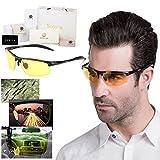Soxick® HD 夜間 運転 ドライブ 夜用 イエロー 偏光 レンズ サングラス UVカット 雨天 防眩効果でクリアーな視界 メンズ メタル フレーム ハーフリム メガネ