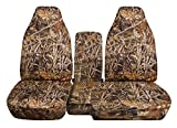 2004 to 2012 Ford Ranger/Mazda B-Series Camo Truck Seat Covers (60/40 Split Bench) with Center Console/Armrest Cover: Wetland Camo (16 Prints Available)