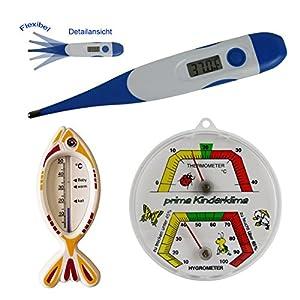 Lantelme - 3 pzas. termómetro niños conjunto con termómetro para la fiebre niños digital con punta flexible y análogo vivero termo / higrómetro y niños baño pez termómetro blanco impreso de Lantelme