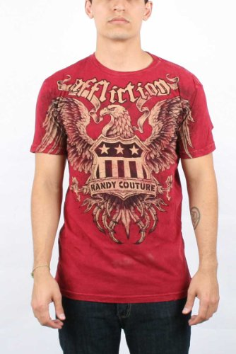 Affliction - Mens Couture Service T-Shirt In Dirty Red Lava Wash, Size: XX-Large, Color: Dirty Red Lava Wash