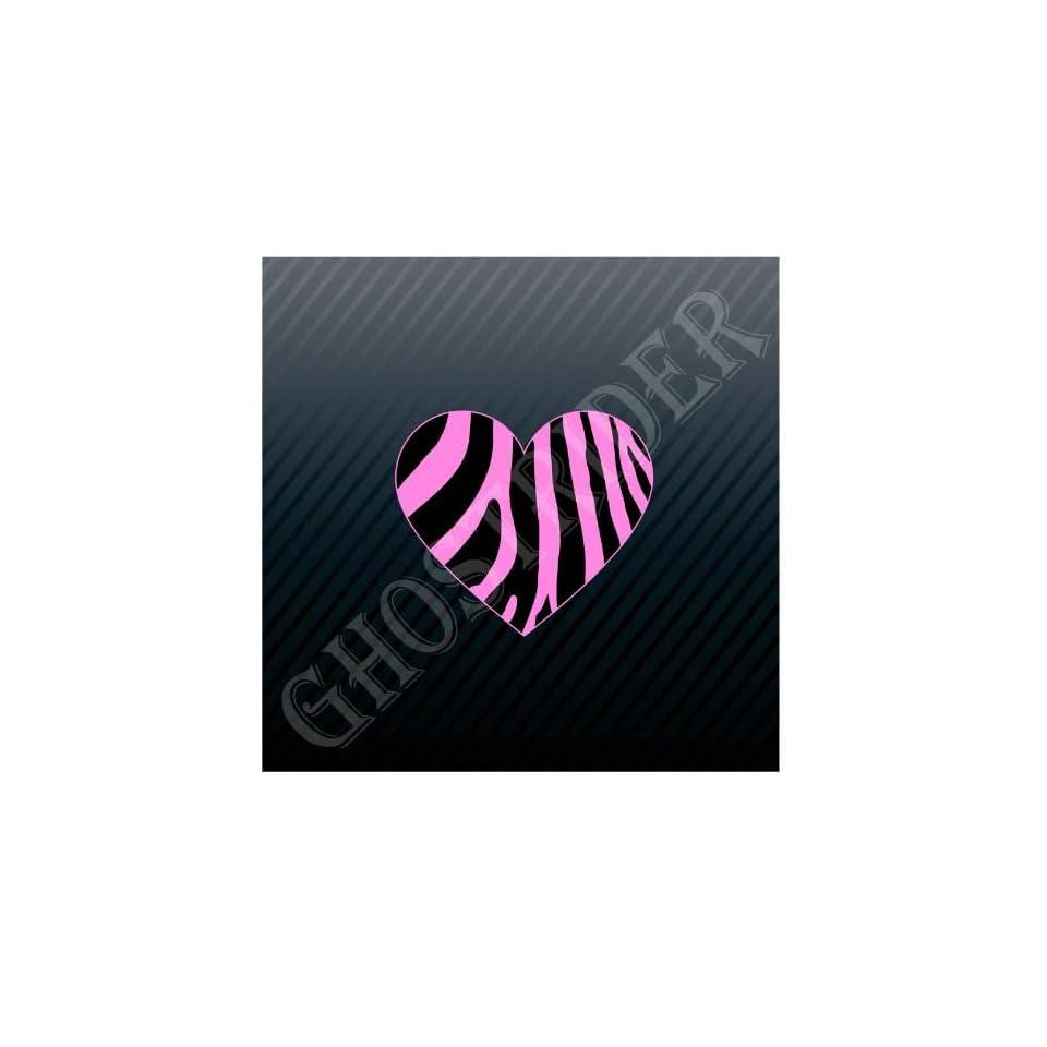 Pink Zebra Heart Trucks Sticker Decal